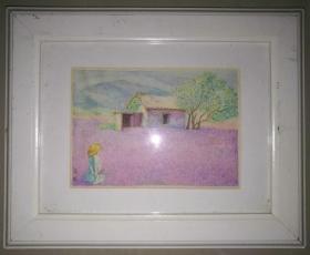 带原外框的画家风景水彩素描《家》