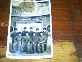 老照片 4寸60年9位军人合影