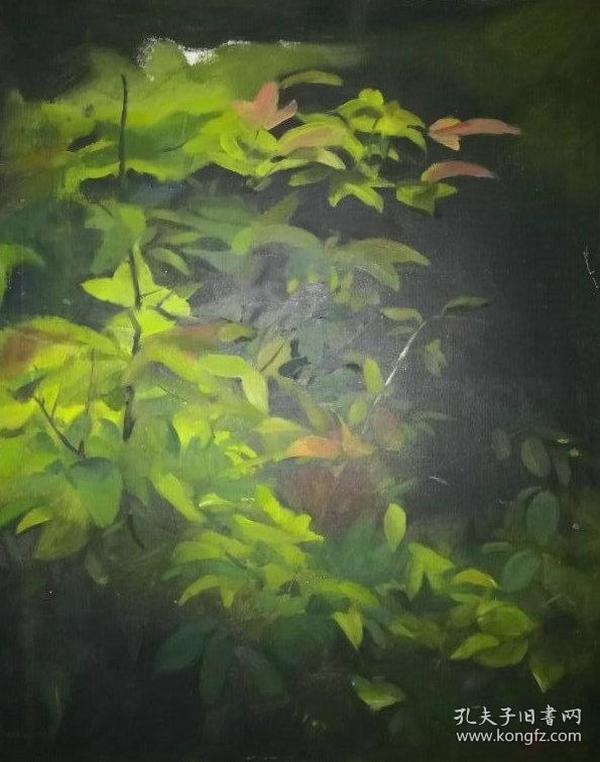 名家带框布面油画《雨季》