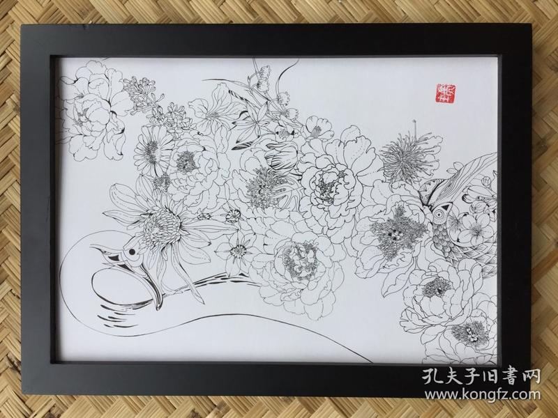 水彩画《鹤与花》