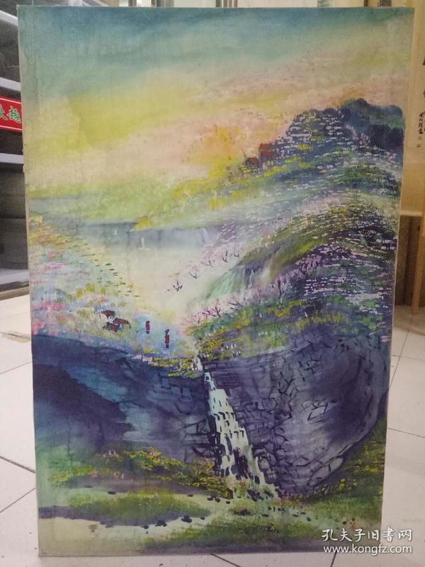 山林小溪水画一幅