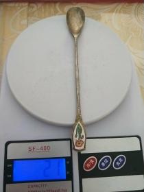 【包老】老铜器、老物件【铜鎏银勺子】精美带瓷铜勺,长勺子,尺寸重量看图