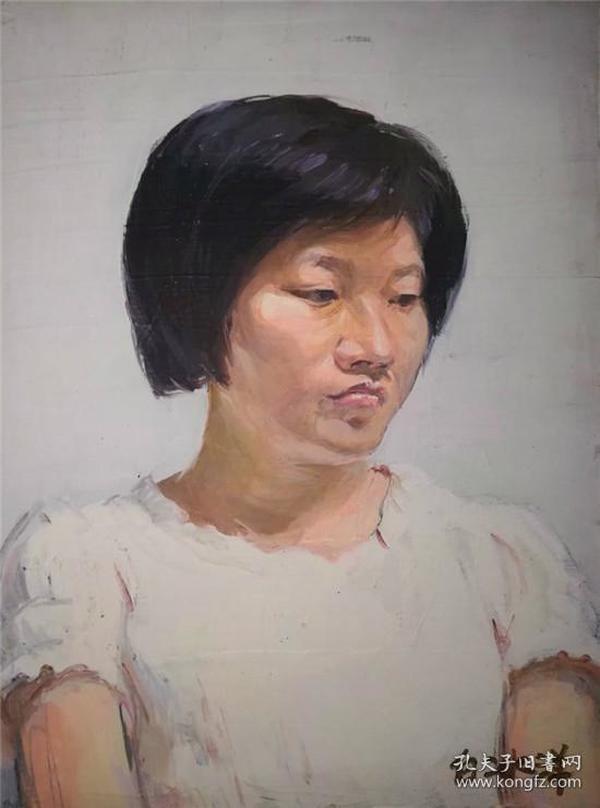 油画家带原框布面油画《女肖像》