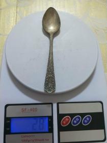 【包老】老铜器、老物件【铜鎏银勺子】精美带工铜勺,小勺子,尺寸重量看图.