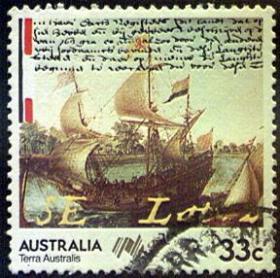 外国邮票-澳大利亚发行【纪念著名古帆船停泊码头】图邮票,不缺齿、无揭薄好信销邮票