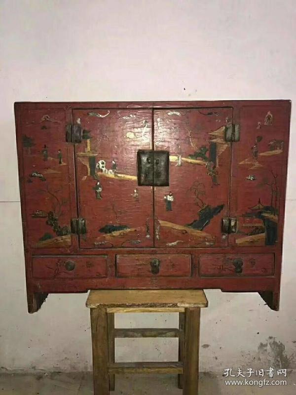 老漆器漆器柜子,长77cm,宽63cm