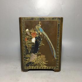 漆器花鸟笔筒 1