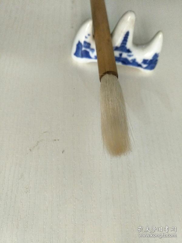 老毛笔,红双喜牌长锋宿纯羊毫条幅,善联含山湖笔厂,尺寸26X4X1。