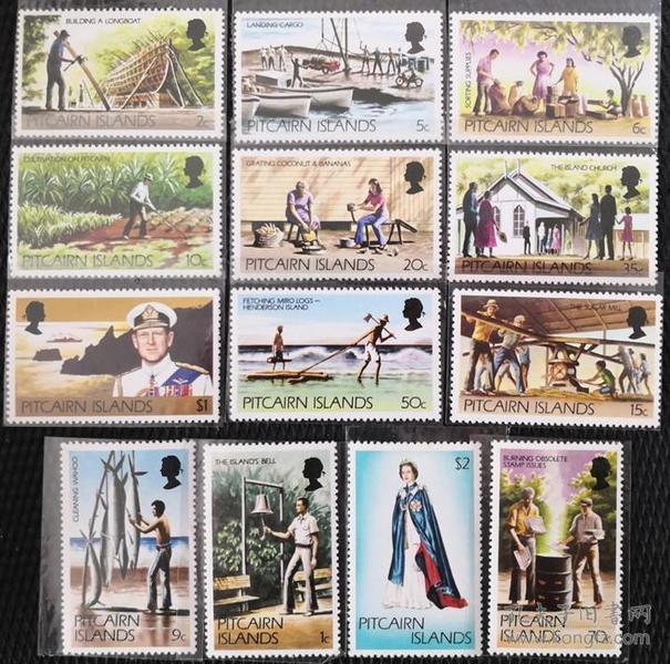 皮特凯恩邮票1977~81年各地风情、民俗与女王 13全新