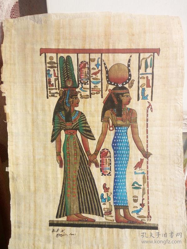 埃及半面律画法纸草画,非常漂亮,装饰感很强