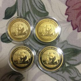 熊猫金币(中国银行成立100周年纪念)四枚