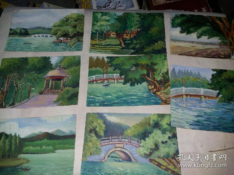 七十年代油画8张合售(32x14.5)