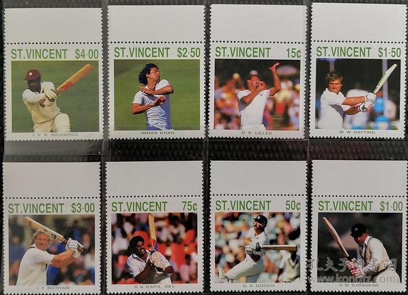 圣文森特1988年 棒球各大明星邮票   8全新 带上边