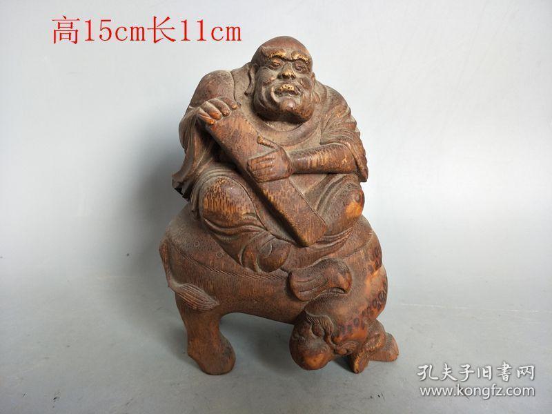 古董古玩杂项,清代传世雕工不错的老竹根雕罗汉摆件