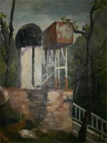 著名画家布面风景油画《水塔》—【低价拍售完为止】油画作品(*U-WPSEX)