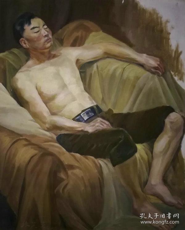 著名教授布面人物油画《憩》—【低价拍售完为止】油画作品(*U-WPWYC)