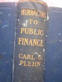 民国英文原版书《introduction to public carlc plehn》 介绍公共
