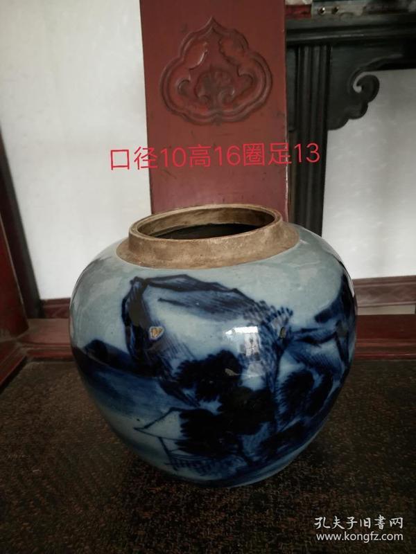 元青花瓷罐,包浆老辣,品相如图,包老包真,收藏珍品,口径10cm,高16cm,圈足13cm,全品无损,包老保真