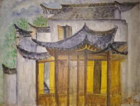 名家带框布面风景油画《安徽民居》—【低价拍售完为止】油画作品(*U-WPSYC)