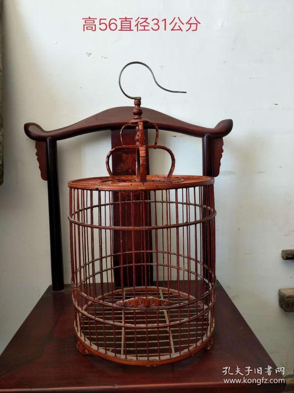 民国时期,紫竹鸟笼,包浆圆润,闲情雅致,鸟语花香,尺寸高56cm,直径31cm,全品无损,收藏佳品,特价出