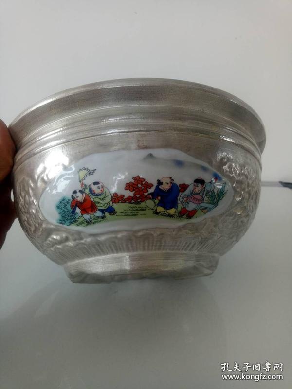 银包瓷盆·聚宝盆·婴戏图·福子银盆·银包瓷鱼缸