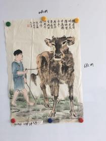 浙江画家张宝助精美国画一幅68*48CM:横眉冷对千夫指、俯首甘为孺子牛