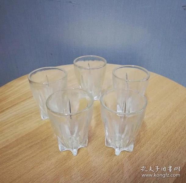 五个美观的文革玻璃小杯子