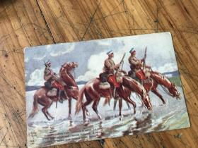 2775:毛笔题签 壬戌葭月于沪江张芝瑜记    将军骑马 外文 明信片