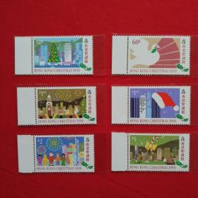 香港邮票HS51香港圣诞节邮票圣诞树和平鸽烟花圣诞帽音符圣诞老人我们邮票收藏珍藏集邮