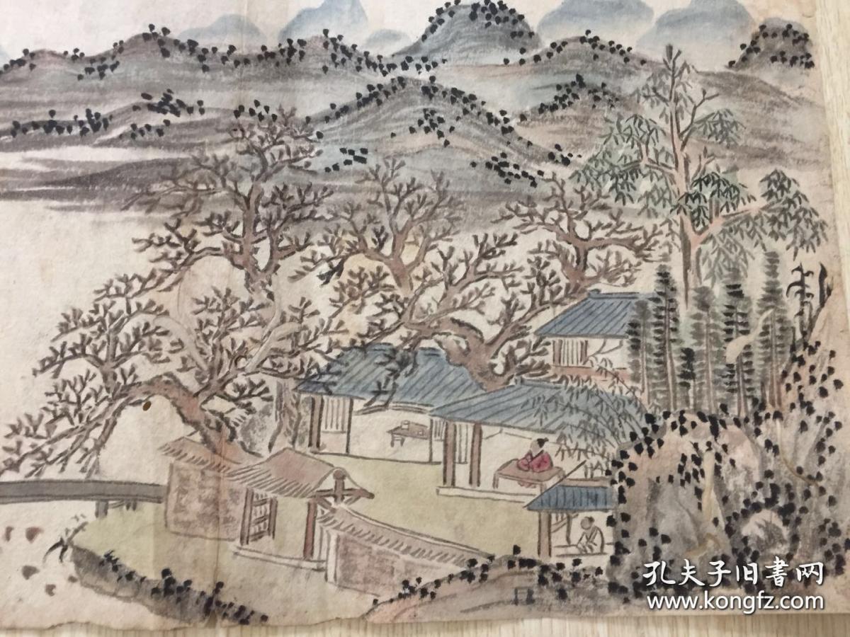 清末民国手绘山水画页2面