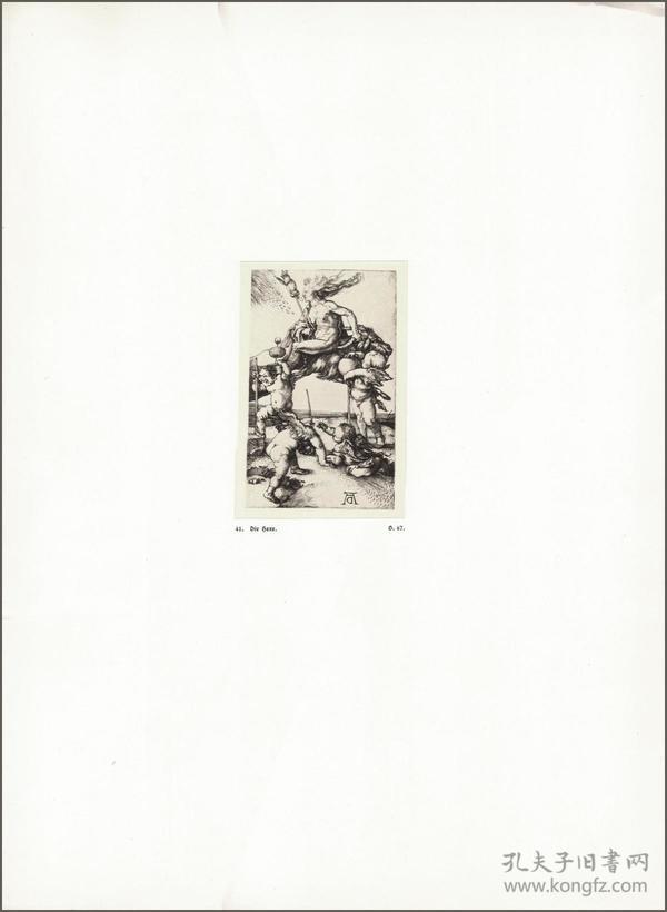 1914年,丢勒版画仿真复制《女巫》,43.7×32cm