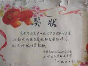 农业学大寨 奖状 偃师 缑氏 宋村  宋景星