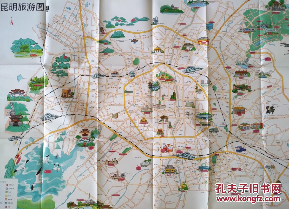 昆明市旅游 手绘地图 昆明地图 昆明市地图 昆明旅游图