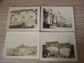 侵华日军相册中夹着的四张北京照片:颐和园泉香界,正阳桥牌楼,日军集合的某政府大楼,某处塔楼远拍