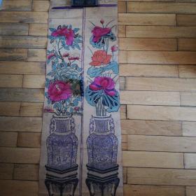 民国木板年画对屏长124宽21.5厘米
