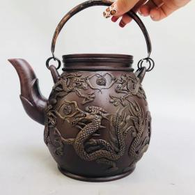 宜兴紫砂 时大彬制 堆龙紫砂壶 有款识品如图一眼货