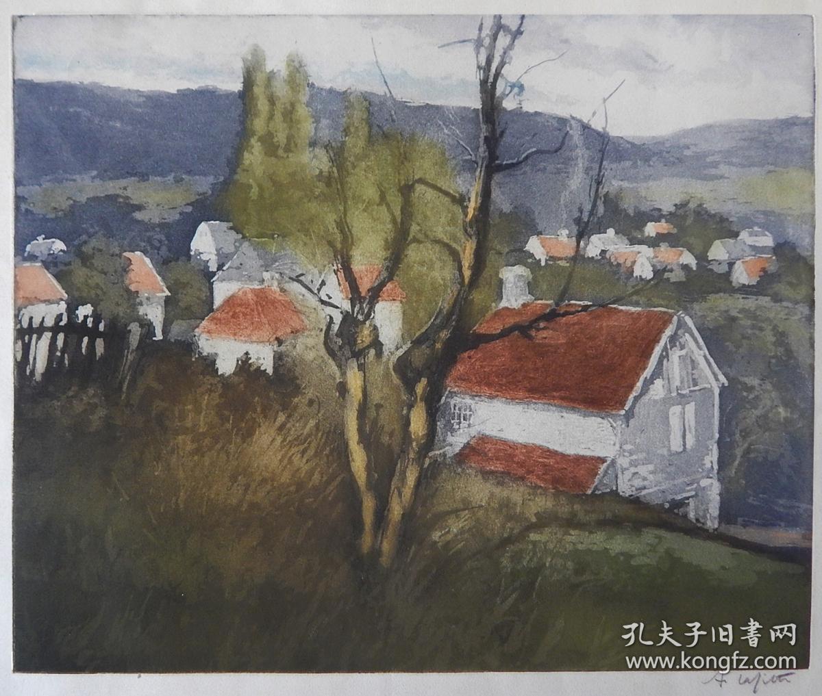 美國大幅套色銅版畫風景《村落》