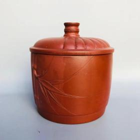 宜兴紫砂 竹节紫砂茶叶罐 有款识品如图一眼货