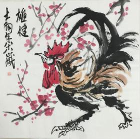★【顺丰包邮】【陈大羽】国家一级美术师、中美协会员、手绘四尺斗方鸡(68*68cm)2买家自鉴 。