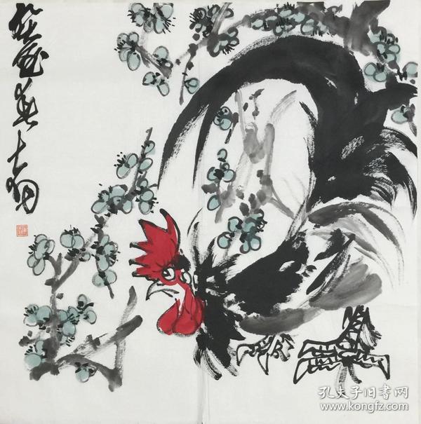 ★【顺丰包邮】、【陈大羽】国家一级美术师、中美协会员、手绘四尺斗方鸡(68*68cm)3买家自鉴 。