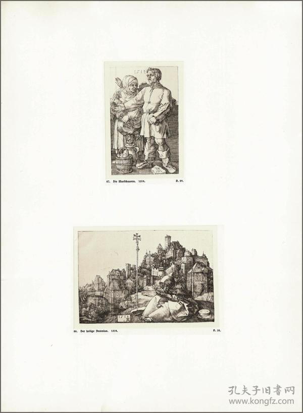 1914年,丢勒版画仿真复制《集市上的农民》《圣安东尼》,43.7×32cm