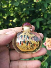 老式鼻烟壶、琉璃手工艺【清明上河图】创意特色老货鼻烟壶、古装饰摆件收藏、把玩鼻烟壶.