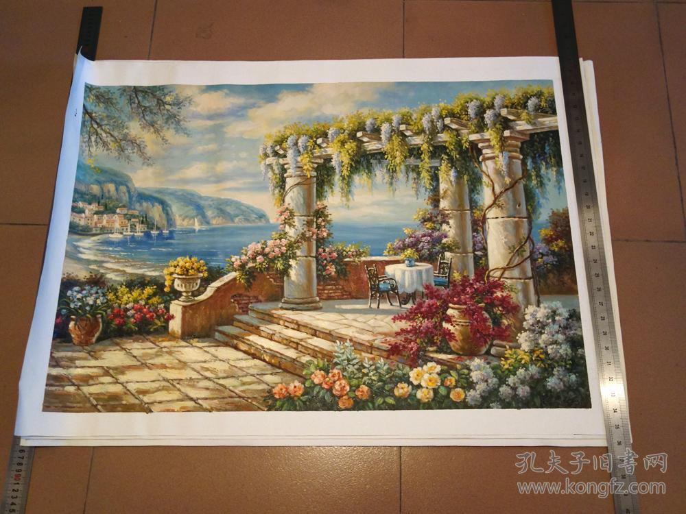 手工油画 地中海花园景油画 欧式田园装饰画客厅挂画