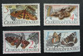 『捷克斯洛伐克邮票』1987年  蝴蝶与蛾 雕刻版 4全新