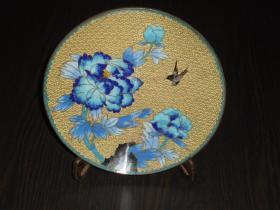 紫铜胎景泰蓝老盘(直径20.7公分,重530克)