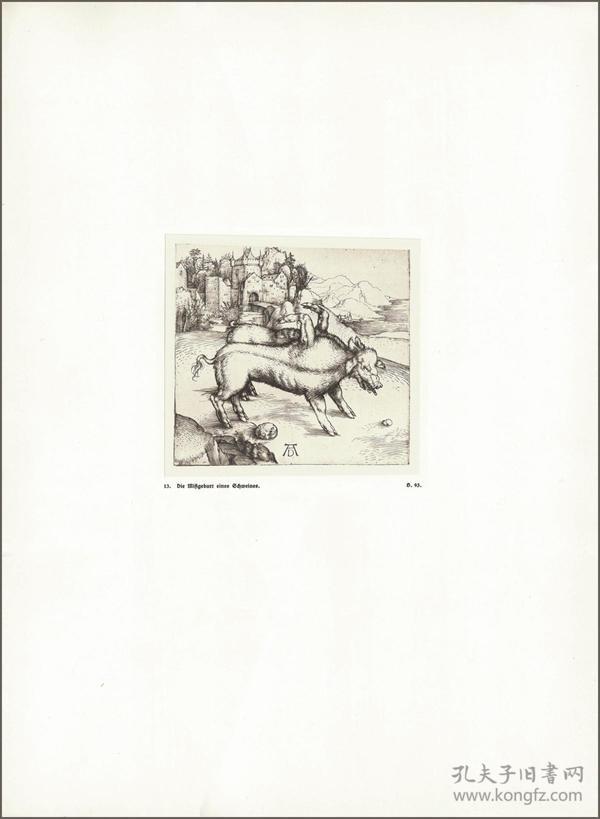 1914年,丢勒版画仿真复制《连体母猪怪》,43.7×32cm