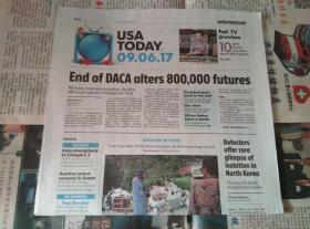 USA TODAY 国际版今日美国 2017/09/06 外文原版过期报纸学习参考资料