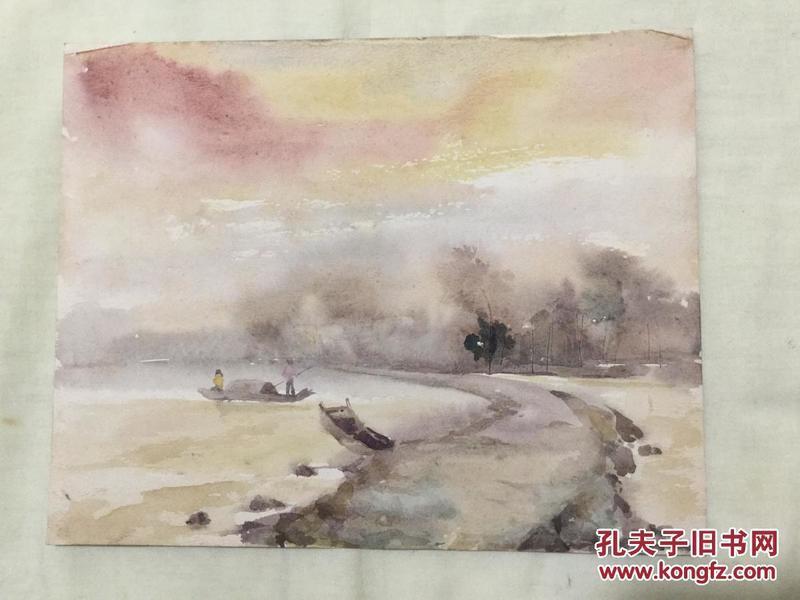 老水彩画《晨雾》
