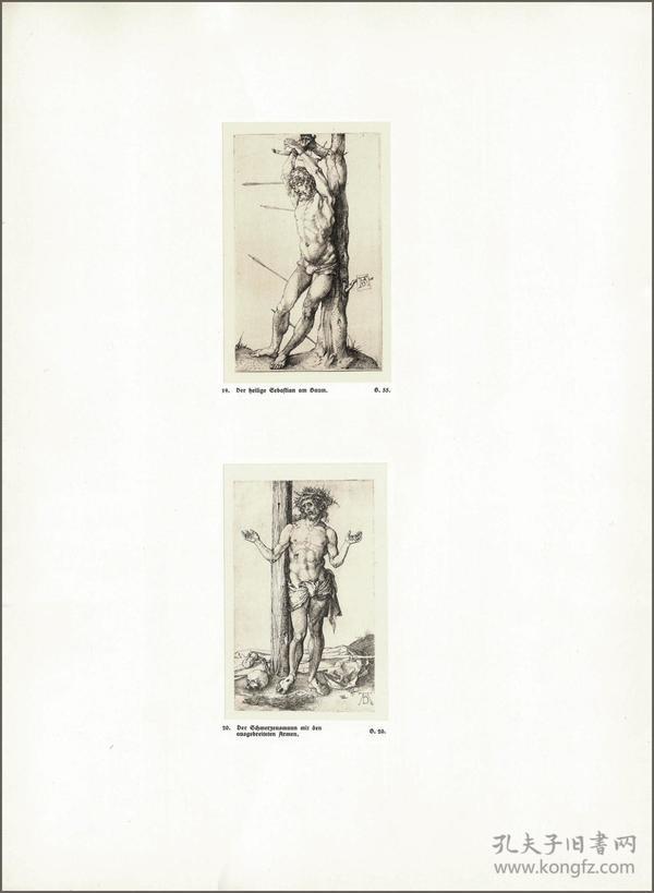 1914年,丢勒版画仿真复制《被绑树上的圣塞巴斯蒂安》《海边伸出手臂的痛苦的人》,43.7×32cm