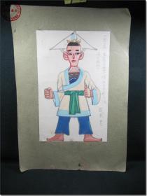 【早期佚名艺术家水彩手绘古代戏曲人物图·之一】,尺寸(长×宽):图画净尺寸:26.5厘米×16.8厘米;硬纸板托裱,托裱尺寸:39.厘米×27.0厘米。